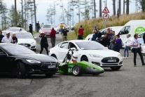 Zraz elektromobilov v Starom Smokovci