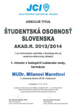 Absolvent LF UPJŠ získal ocenenie Študentská osobnosť Slovenska