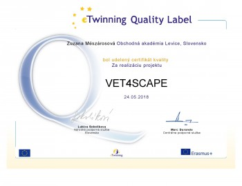 Projekt študentov OA Levice bol ocenený Národným certifikátom kvality