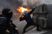 Demonštranti na protestoch v Katalánsku