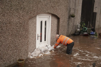 Mesto Appleby-in-Westmorland počas búrky Ciara